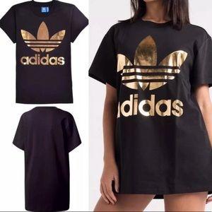 Adidas black & gold trefoil tee